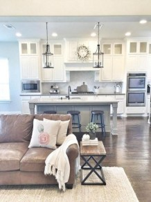 Rustic modern farmhouse living room decor ideas 106
