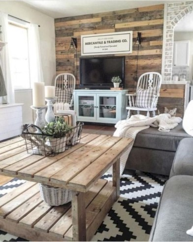 Rustic modern farmhouse living room decor ideas 116