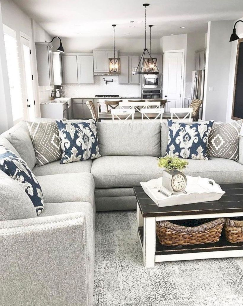 Rustic modern farmhouse living room decor ideas 12