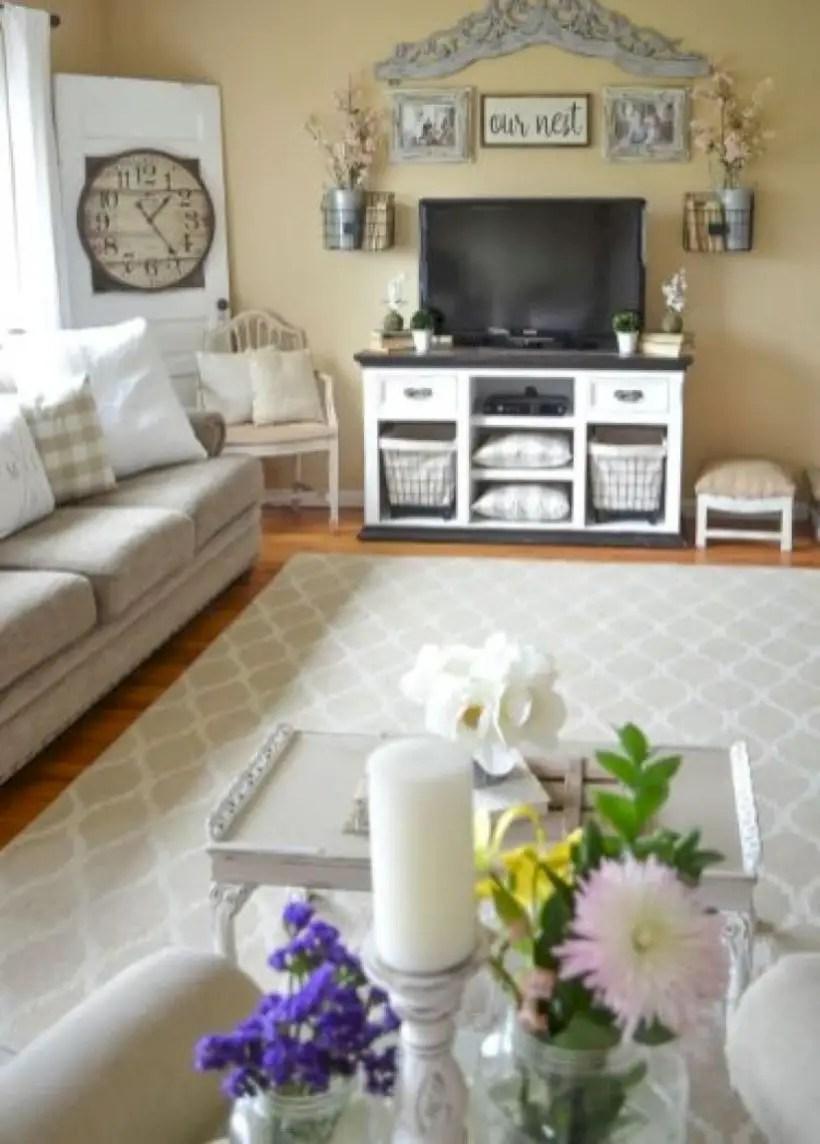 Rustic modern farmhouse living room decor ideas 31