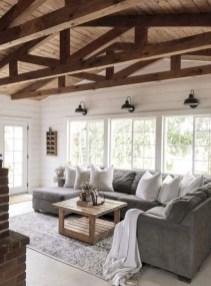 Rustic modern farmhouse living room decor ideas 34
