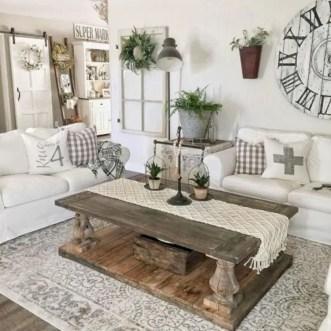 Rustic modern farmhouse living room decor ideas 46