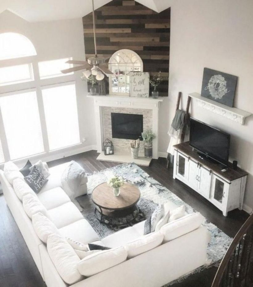Rustic modern farmhouse living room decor ideas 50