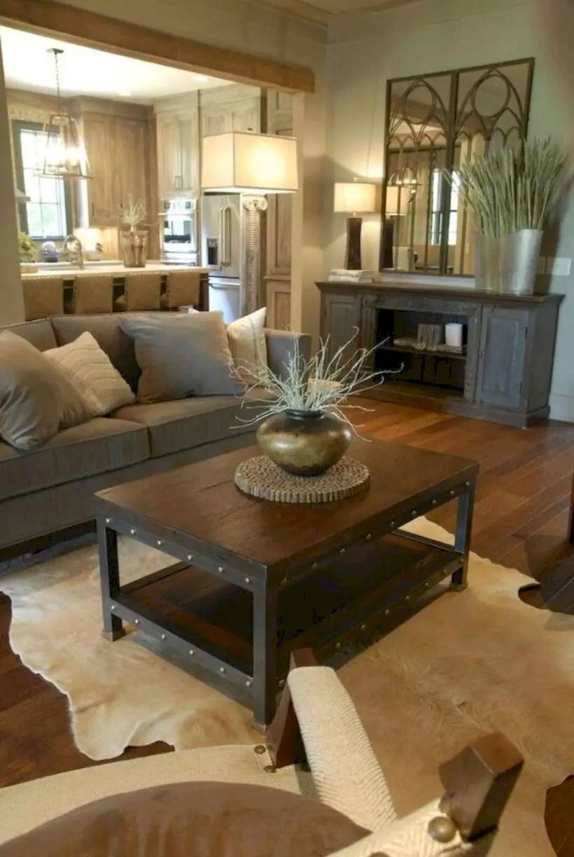 Rustic modern farmhouse living room decor ideas 54