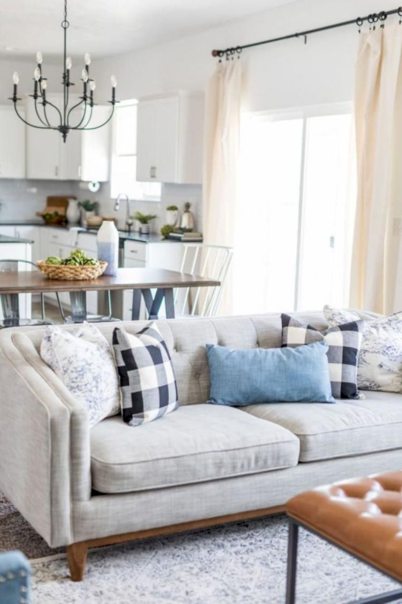Rustic modern farmhouse living room decor ideas 74
