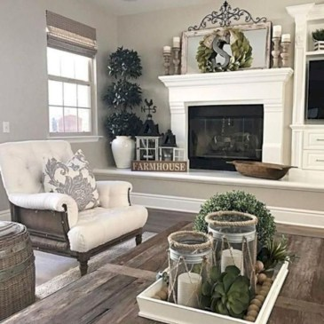 Rustic modern farmhouse living room decor ideas 76