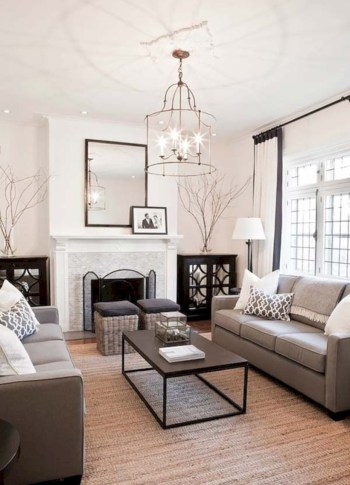 Adorable and cozy neutral living room design ideas 25