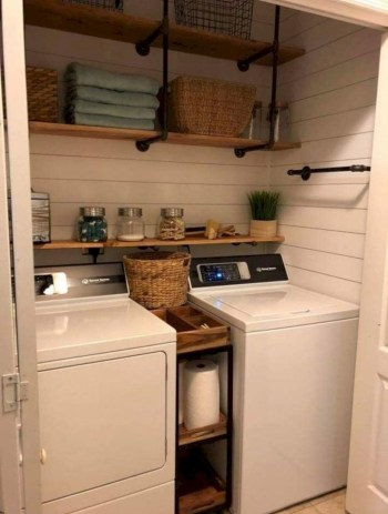 Laundry room storage shelves ideas to consider 24