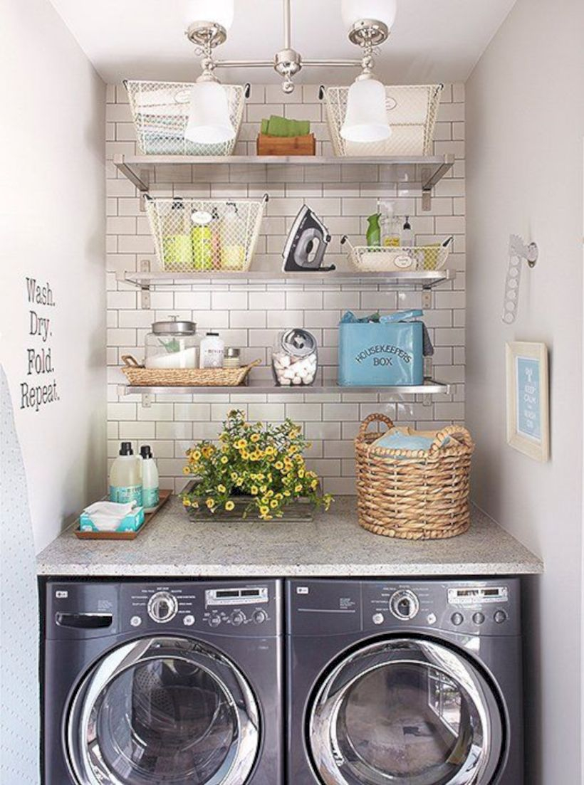 Laundry room storage shelves ideas to consider 28