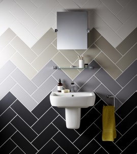 Stunning herringbone patterns for your bathroom wall 20