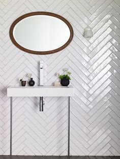 Stunning herringbone patterns for your bathroom wall 26