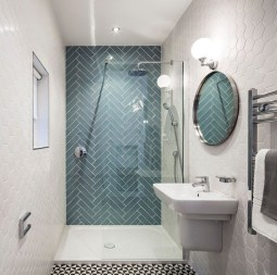 Stunning herringbone patterns for your bathroom wall 30