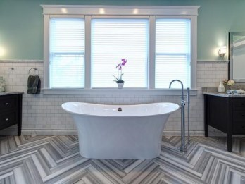 Stunning herringbone patterns for your bathroom wall 40