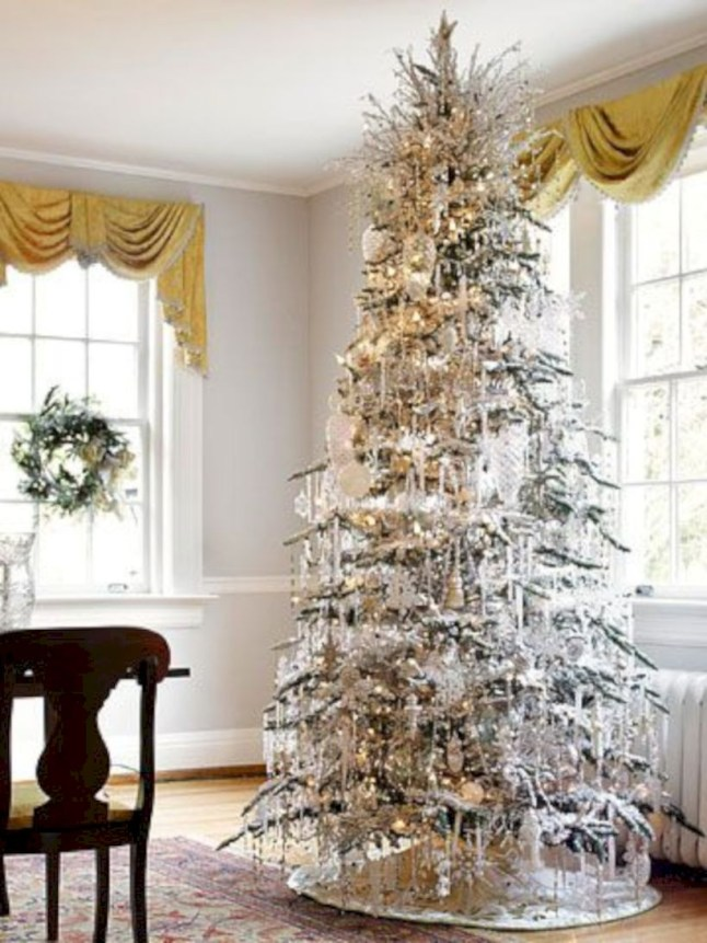 Awesome silver and white christmas tree decorating ideas 34