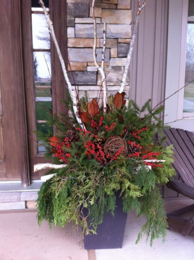 Colorful winter planters for your outdoor decorations 35