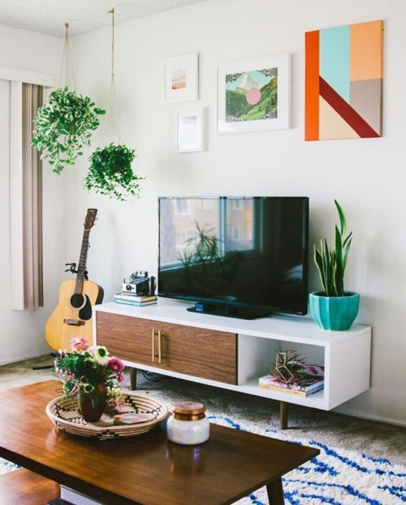 Modern tv stand design ideas for small living room 13