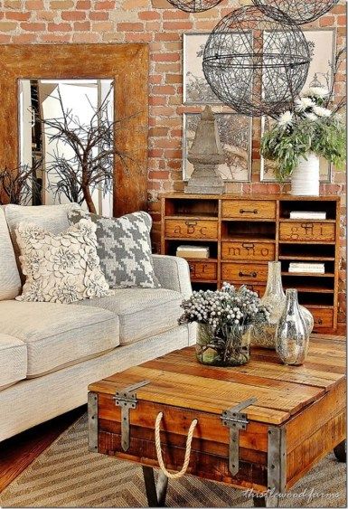 Awesome country farmhouse decor living room ideas 23