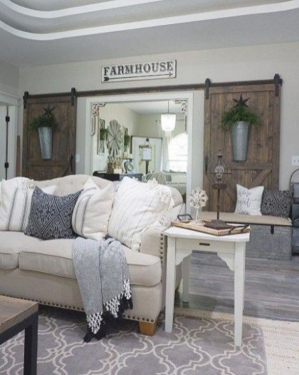 Awesome country farmhouse decor living room ideas 36
