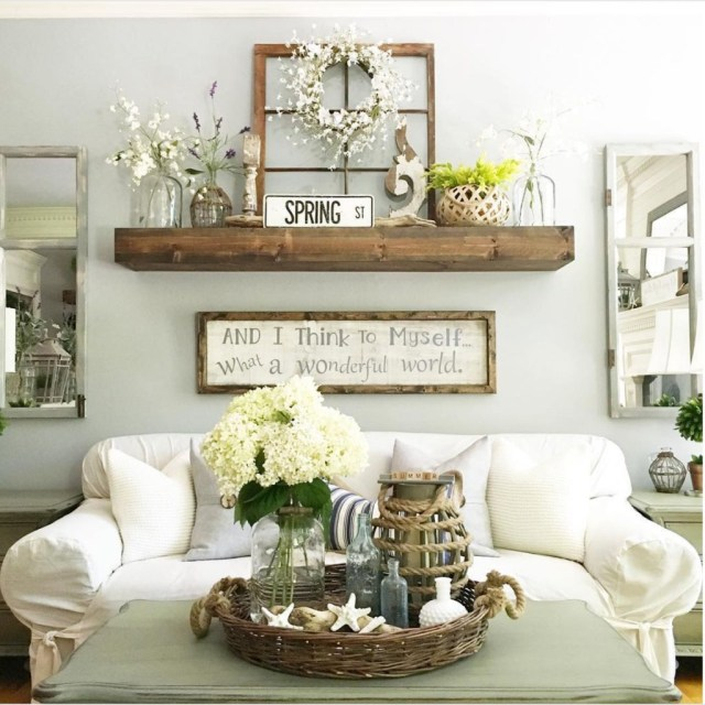 Awesome country farmhouse decor living room ideas 46