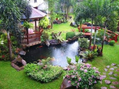 Design a fish pond garden with a waterfall concept 14