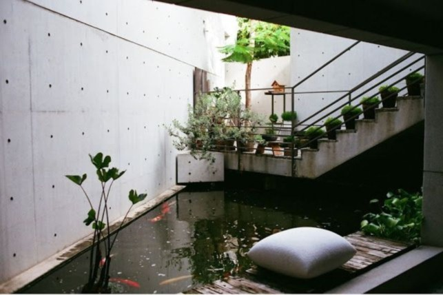 Design a fish pond garden with a waterfall concept 28