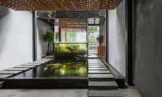 Design a fish pond garden with a waterfall concept 37