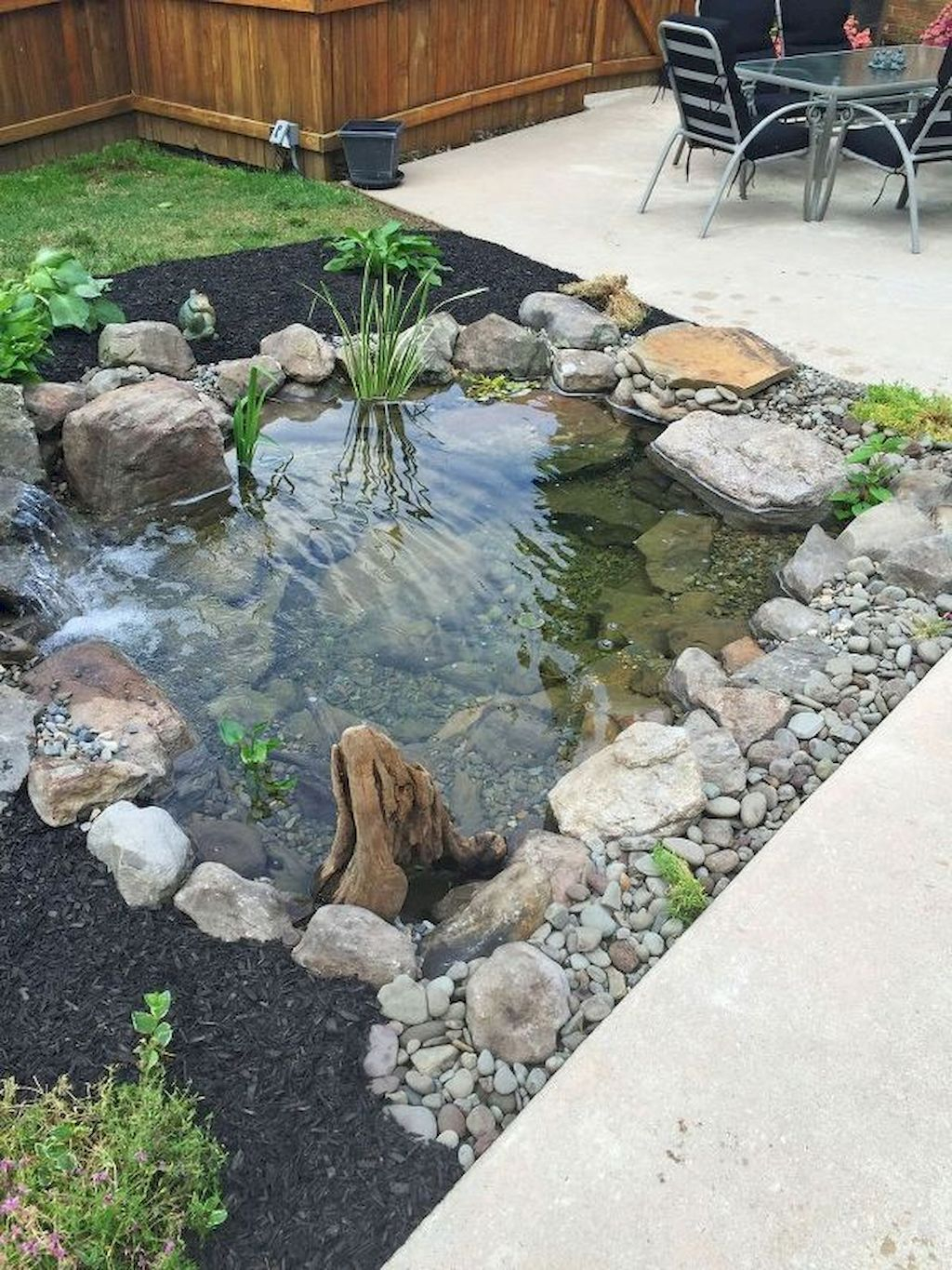 Design a fish pond garden with a waterfall concept 43
