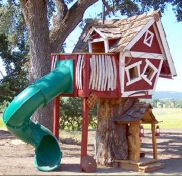 Backyard design ideas with children's slides 03