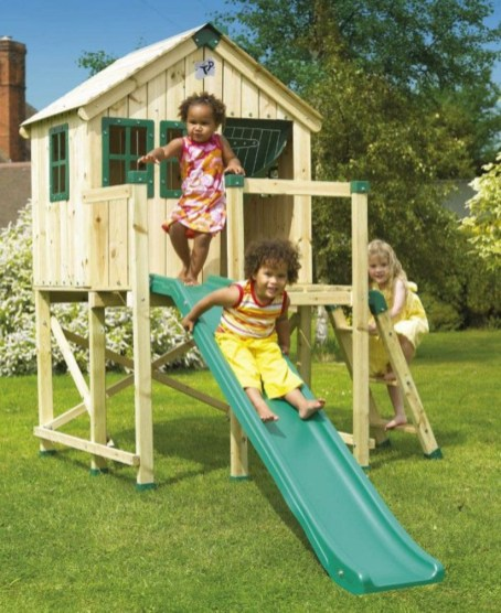 Backyard design ideas with children's slides 06