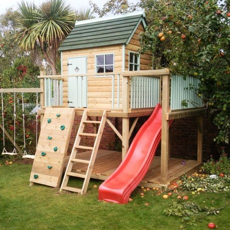 Backyard design ideas with children's slides 12