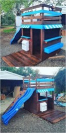 Backyard design ideas with children's slides 17