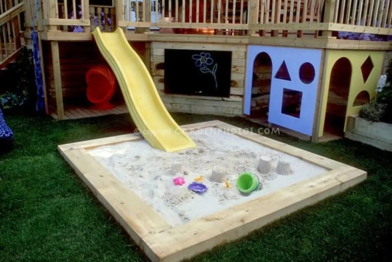 Backyard design ideas with children's slides 30