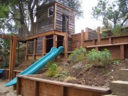 Backyard design ideas with children's slides 37