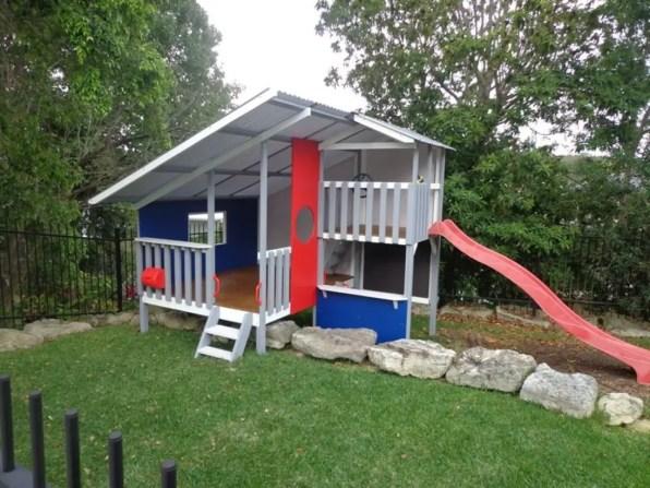 Backyard design ideas with children's slides 46