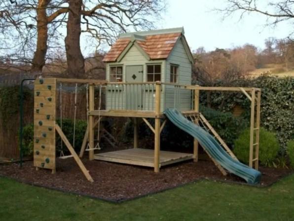 Backyard design ideas with children's slides 47