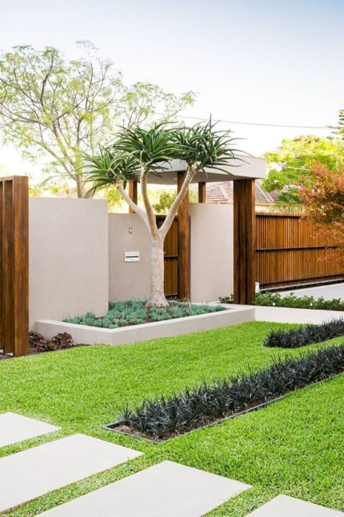 Garden exterior design ideas using grass that make your home more fresh 04