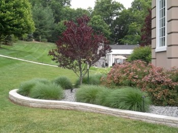 Garden exterior design ideas using grass that make your home more fresh 22