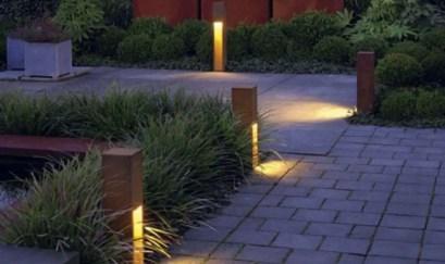 Front yard exterior design with beautiful garden lights 11