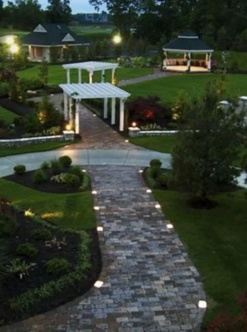 Front yard exterior design with beautiful garden lights 12