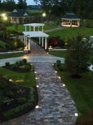 Front yard exterior design with beautiful garden lights 12