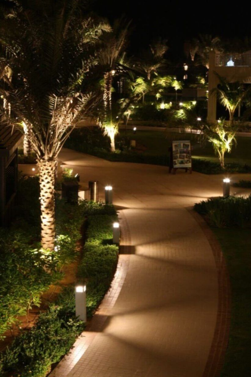 Front yard exterior design with beautiful garden lights 13