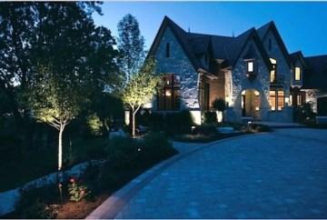 Front yard exterior design with beautiful garden lights 25