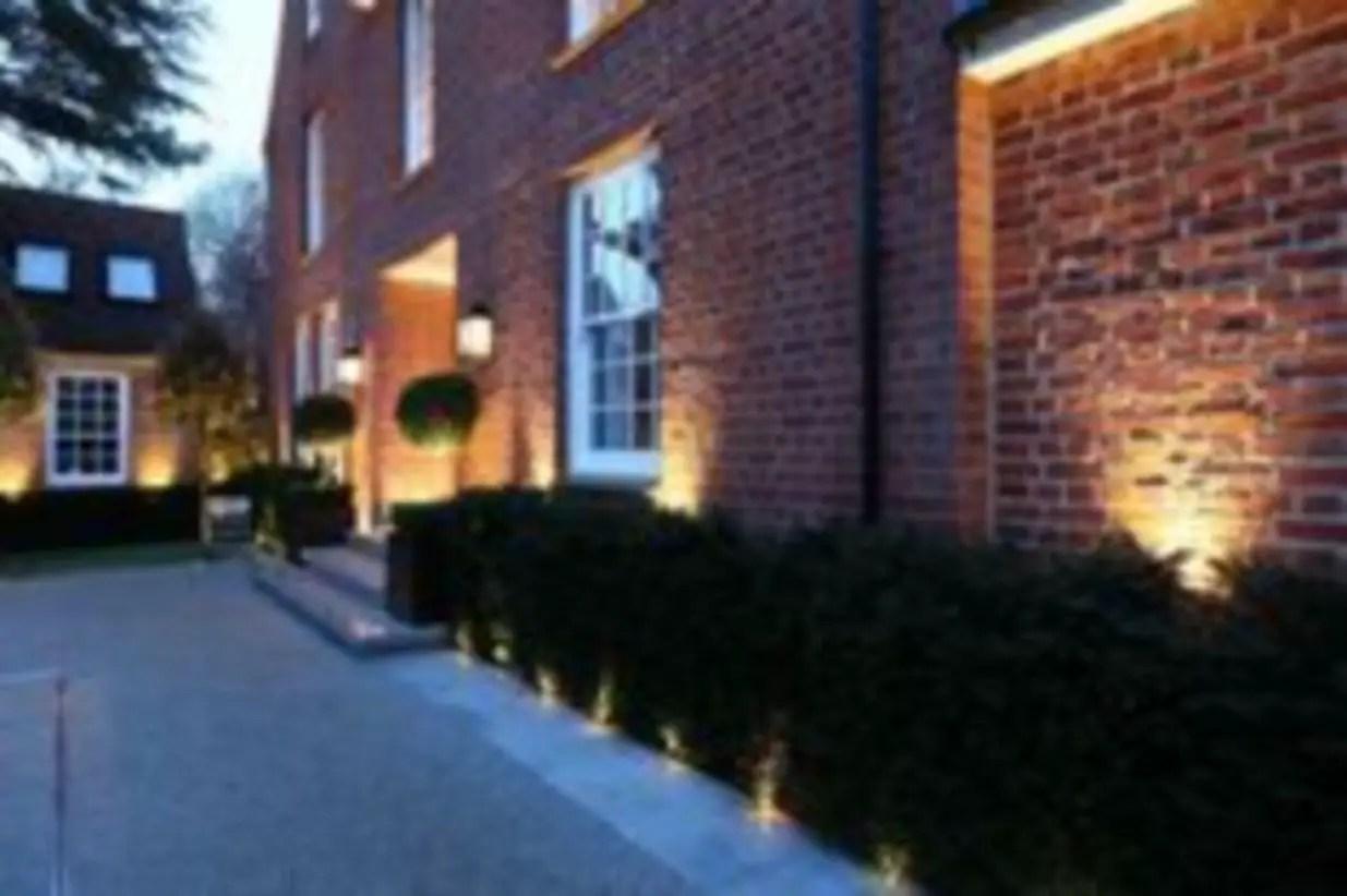 Front yard exterior design with beautiful garden lights 32