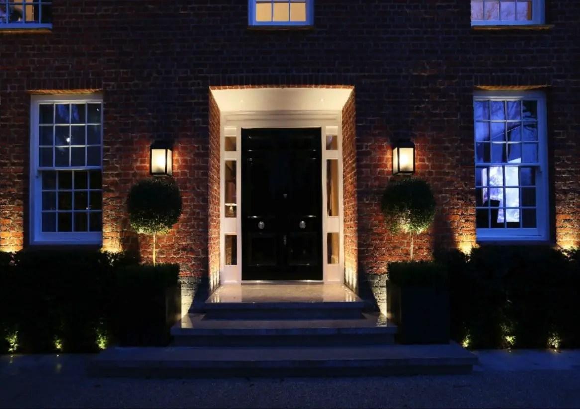 Front yard exterior design with beautiful garden lights 36