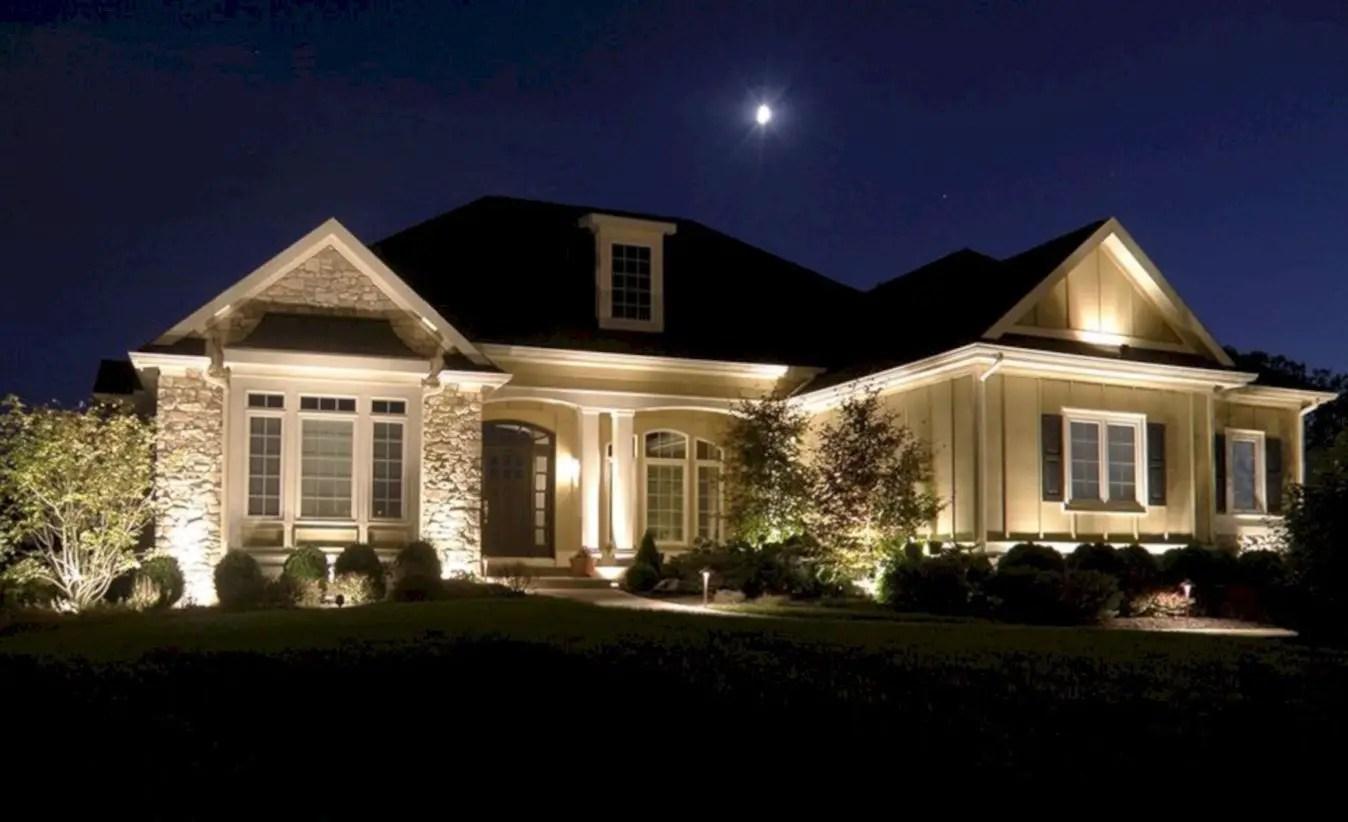Front yard exterior design with beautiful garden lights 41
