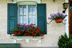 Exterior decoration ideas with flower in window 25