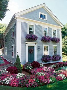 Exterior decoration ideas with flower in window 33