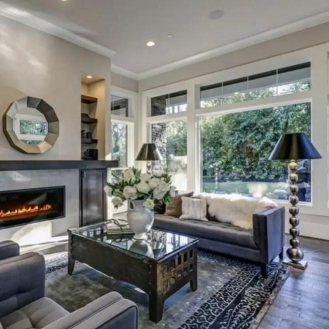 Living room gray wall color design ideas 14