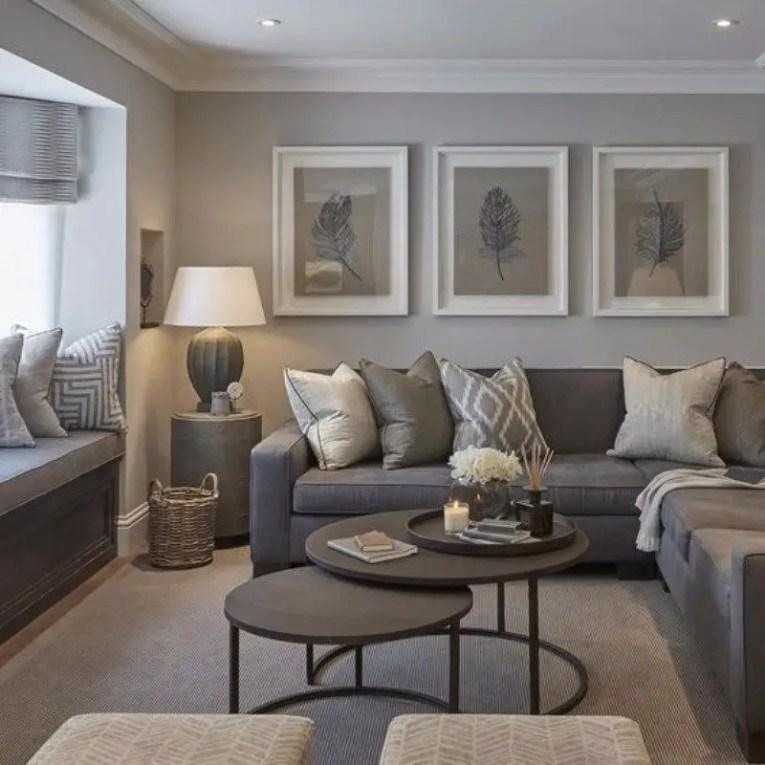 Living room gray wall color design ideas 22