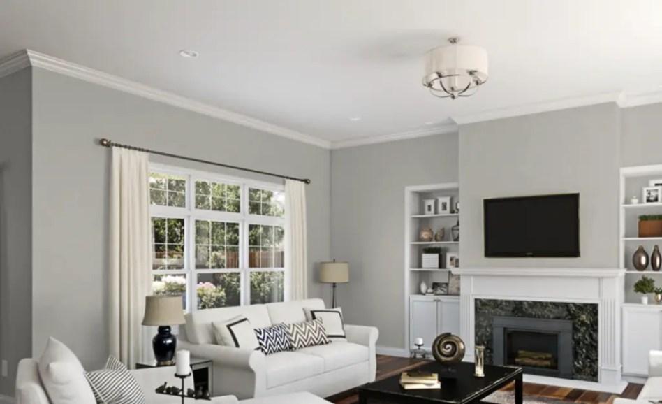 Living room gray wall color design ideas 27
